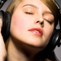 The Girl is Hearing the Music by Headphone